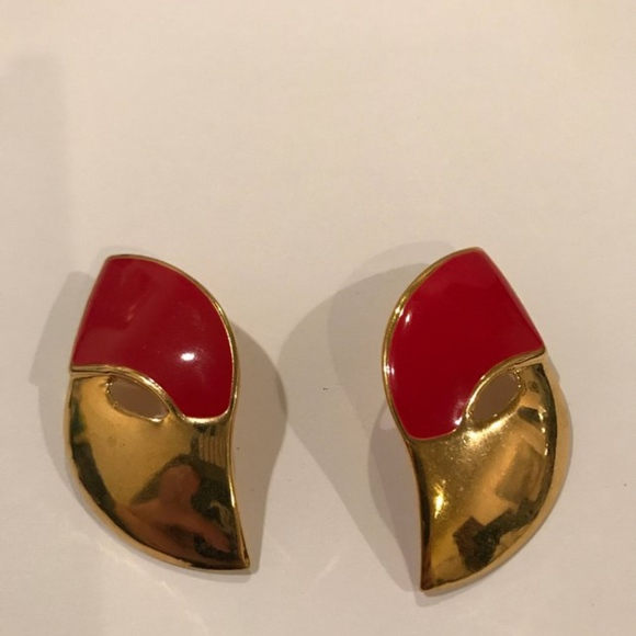 497b37dca Vintage Jewelry | Gold And Red Enamel Earrings | Poshmark